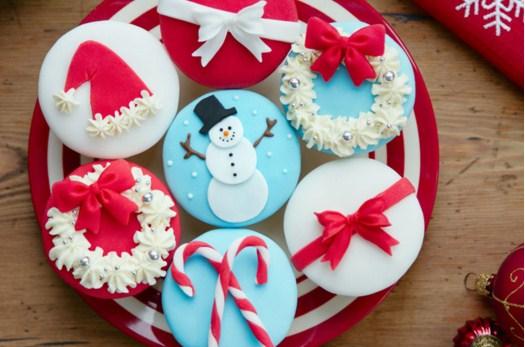 Assortment Of Christmas Cupcakes