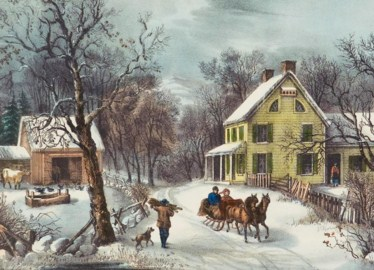American Homestead In Winter Jigsaw Puzzle