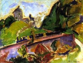 Alfred Henry Maurer Fauve Landscape with Train emulating Matisse
