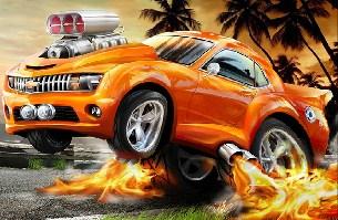 Racing Fire Car Jigsaw