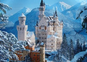 German Castle in the Snow