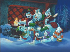 Christmas snowman carrolers