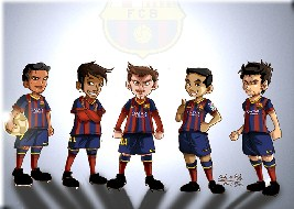 Cartoon Barcelona Team