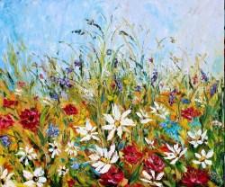 Palette knife wildflowers landscape Karen Tarlton