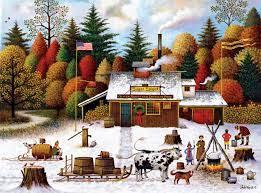 Desenhos de Charles Wysocki – Vermont Maple Tree Tappers para colorir