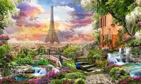 Desenhos de Garden in Paris Jigsaw Puzzle para colorir